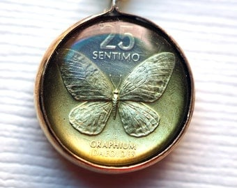 Tiny Butterfly Coin Pendant
