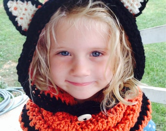 Crocheted Toddler Child Adult Flint FOX Cowl Hood Ears - You Pick Size: 12 Mos to Adult - Cute Winter Accessory
