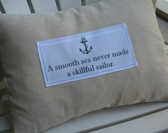 Custom Quote Pillow, Anchor, Nautical, Wedding, Anniversary, Housewarming, Date Pillow, Pillows, Ivory, Abundant Haven