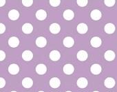 LAMINATED cotton fabric by the yard - Medium Lavender dots (aka oilcloth,coated vinyl polyurethane PUL fabric) yardage