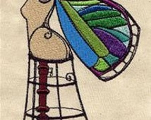 Winged Beauty on Dress Form Embroidered Flour Sack Hand/Dish Towel