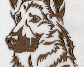 German Shepherd Silhouette Embroidered Flour Sack Hand/Dish Towel