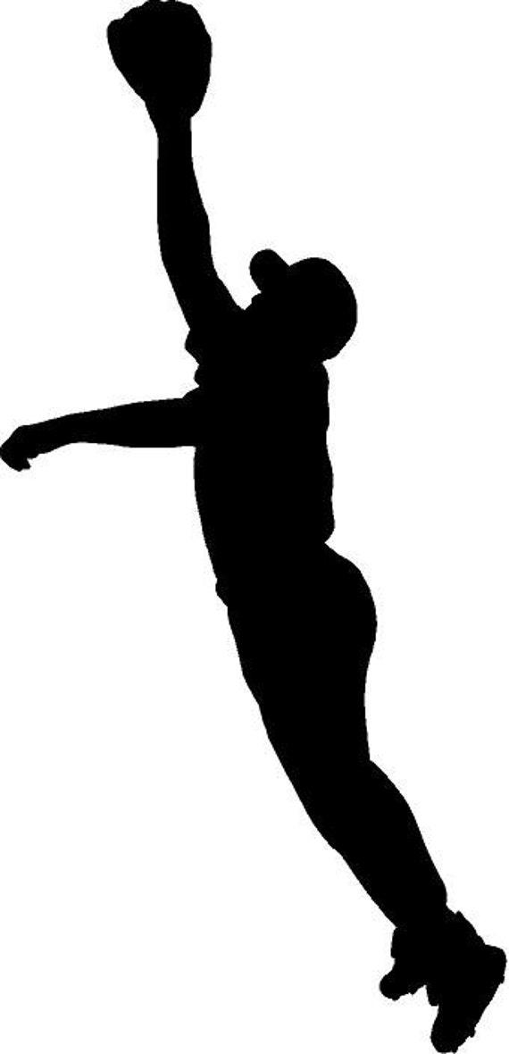 Baseball Outfielder Catch Silhouette Die Cut Vinyl Decal