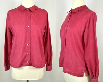 1960s Red Raspberry Long Sleeve, Peter Pan Collar Blouse by Ship'n Shore