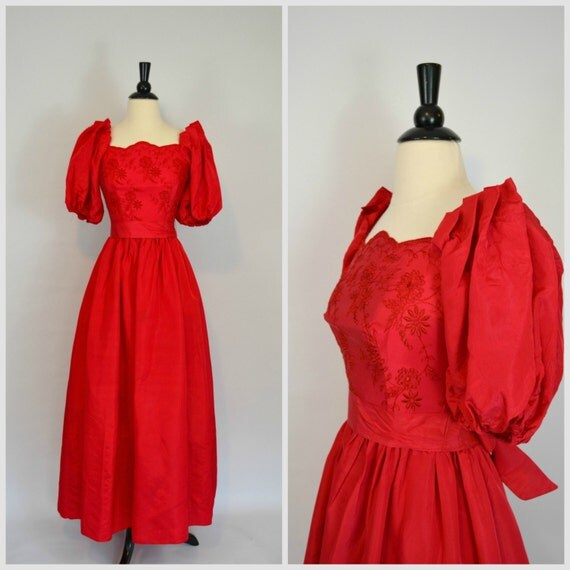 1970s red party dress formal gown by krisvintageclothing on etsy