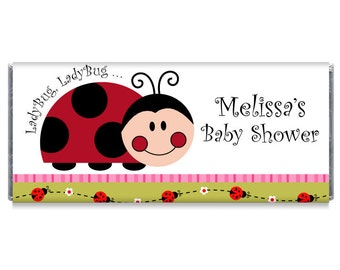 Lady Bug Baby Shower Personalized Candy Bar Wrappers - Lady Bug Baby Shower Favors