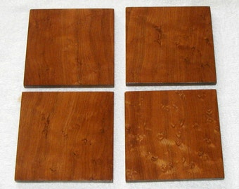Handmade Fancy Figure Birdseye Maple Wood Coaster Set of Four Free shipping