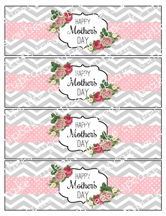 mothers day pink chic vintage chevron chic water labels. Black Bedroom Furniture Sets. Home Design Ideas