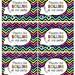 Wild Chevron Girls Neon- Large Labels-   Digital Collage Large  LaBeLs PRINTABLE