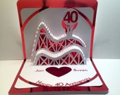 40th ANNIVERSARY 3D Pop Up Roller Coaster Card CUSTOM ORDER Handmade in White and Bright Metallic Shimmery Red