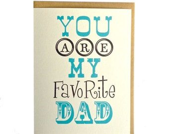 Father's Day card, favorite dad, dad birthday, fathers day, typography card