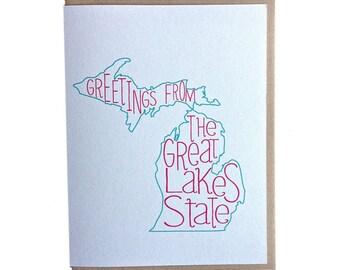 Michigan card, michigan greeting card, greetings from michigan, handmade greeting card