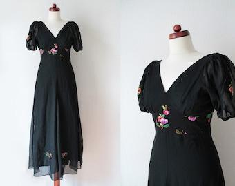 Vintage Maxi Dress - Black Floral Maxi Dress - 1970's Dress - Size XS-S