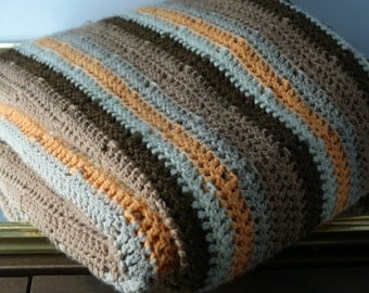 Large Creme Bright Orange and Dark Brown Fall Blanket Large. Vintage Living Room Space. Fireplace Cuddling