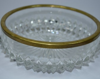 Reduced. Beautiful Crystal Bowl. Hobnail Inspired Brass Rimmed. Casserole Dish. VIntage Bowl