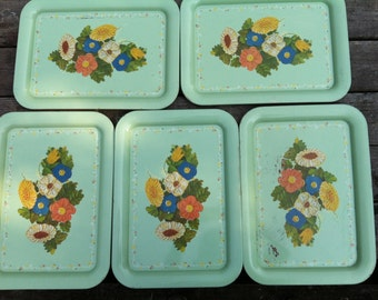 Vintage trays, green trays, painted trays