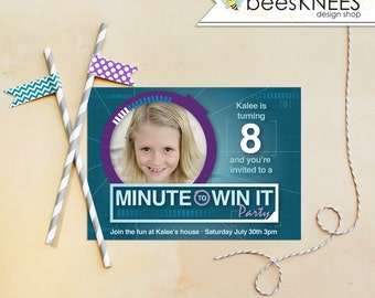 Minute To Win it Birthday Invitation Girl Party customized