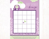 Showered with Love Baby Shower - Instant Download PRINTABLE Bingo Card (Purple & Green)