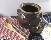 vintage Hull Brown Drip Glaze BEAN POT - Oven Proof USA