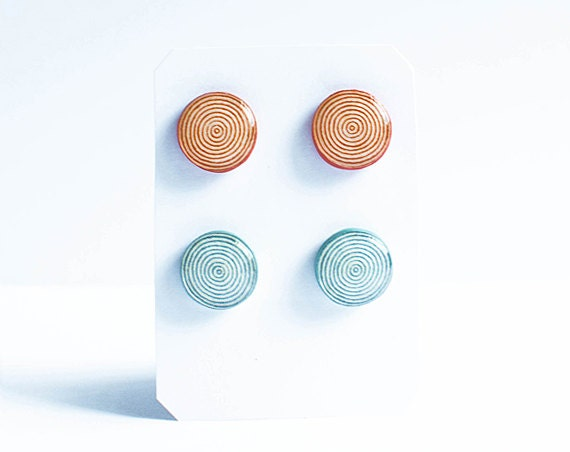 Spiral geometric stud earrings, minimalist jewelry, cute studs, cyan earrings set