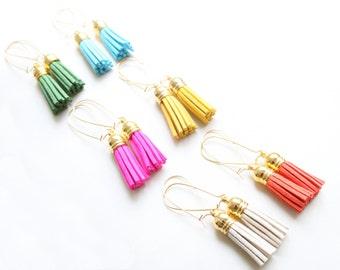 Mini Tassel Earrings, Leather Tassel Jewelry, Suede Jewelry, Faux  Suede Jewelry, Faux Leather Jewelry
