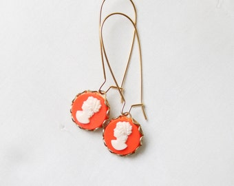 Vintage Coral Cameo Cabochon Earrings, Cameo Earrings, Cameo Jewlery, Coral Earrings