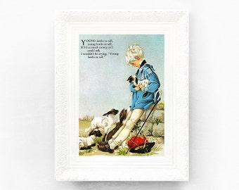 7x9 Young Lambs To Sell Vintage Nursery Rhyme Print. Poem Print Bedroom Grahame Johnstone Christening Baby Shower Gift Nursery Decor Boy