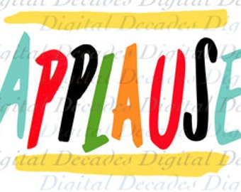 Applause Mid-Century Word Text Font Sign - Digital Image - Vintage Art Illustration - Instant Download