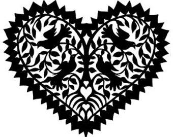 Heart Birds Silhouette Scherenschnitte Paper Cutting Style - Digital Image - Vintage Art Illustration - Instant Download