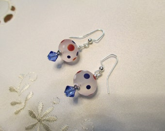Lampwork Bead Earrings With Red White and Blue Polka Dots