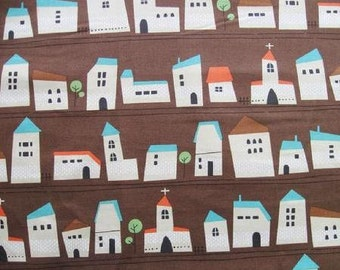 Printed Whimsy - Houses Brown - Oxford Medium Weight Cotton from Kokka Fabrics