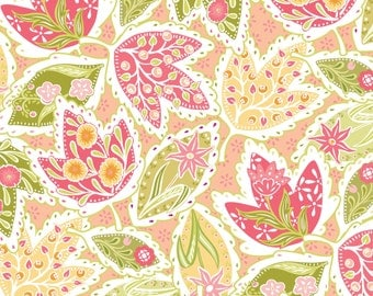 SALE - Bella Feature Floral Orange - Cotton Print Fabric from Blend Fabrics