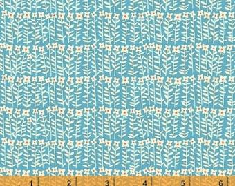 Petite Fleur - Flower Stalks Blue - Organic Cotton Print Fabric by Carolyn Gavin from Windham