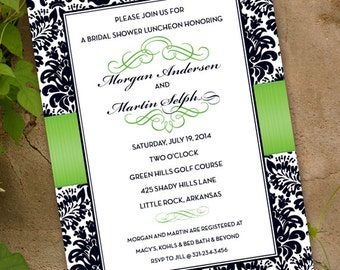 wedding invitations, bridal shower invitations, lime green and black damask wedding invitations, lime green gradudation party, IN329