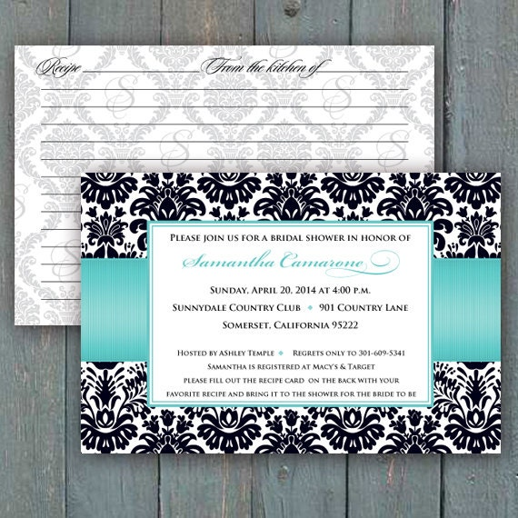 bridal shower invitations, recipe cards, turquoise and black bridal shower invitations, turquoise wedding shower invitations, IN288