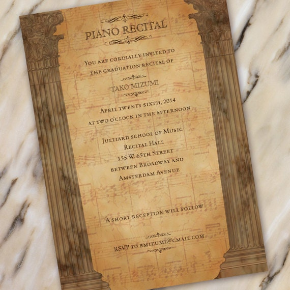piano recital program, graduation recital, piano recital, dance recital, graduation announcement, Bachelor of Fine Arts Graduation, IN325