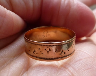 VICTORIAN  ring-  14KT Rose Gold- Eternity Band- wide band   from the 1890s  6.5mm wide