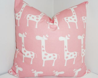 Decorative Pillow Pink & White Giraffe Pillow Nursery Baby Pillow Covers All Sizes