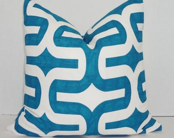 Decorative Pillow Cover Teal Blue Geometric Pillow Cover Throw Pillow Cover Choose Size