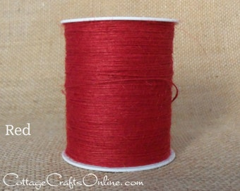Burlap Cord, Versatile Red Scarlet Natural Jute String - 400 YARD ROLL - May Arts Red #14 Packaging Twine, Cardmaking Thread