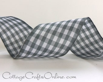 "Wired Ribbon, 1 1/2"",  Grey and White Check Plaid - THREE YARDS -  ""Vichey"" Dove Grey Gingham Craft Wire Edged Ribbon"