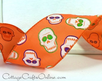 "Halloween Wired Ribbon 2 1/2"", Skeletons on Orange Satin, Glitter - THREE YARDS -  ""Skull Parade"" Wire Edged Ribbon"