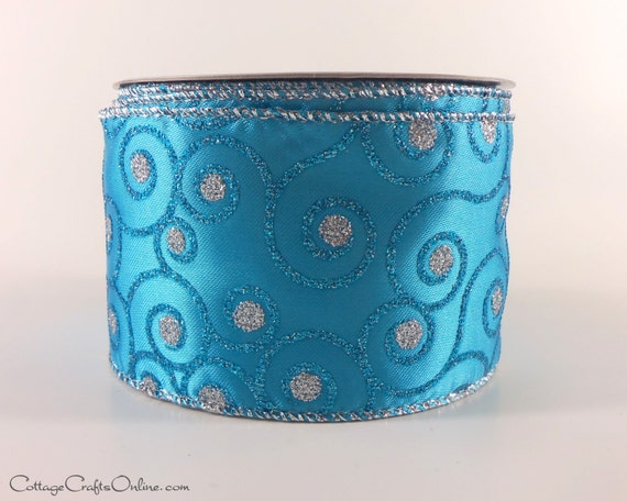 Wired Ribbon Turquoise Blue Silver Glitter By