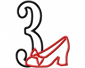 "Red Slippers 1-5 NUMBER Set - Applique - Machine Embroidery Design - 4x4 Hoop, 5"", 6"", 5x6, 5X7 Hoop"