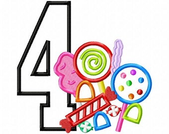 Candy Applique Number 4 - Machine Embroidery Design - 4 sizes