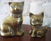 Vintage Pair Of Brass Cats
