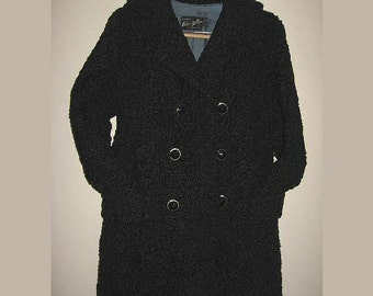 Vintage Black Persian Lamb Short Coat 1960s Double Breasted Belted Back Size 9-11