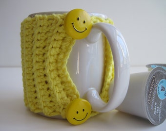 Crochet Mug Cup Cozy - Yellow Smiley Face Buttons