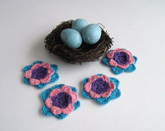 4 Doily Crochet Flowers - Purple, Hot Pink & Bright Aqua - Set of 4
