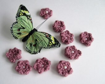 Crochet Flower Appliques - Mini Mauve with Pink Pearl Beads (Set of 9)